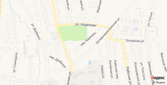 Переулок Баумана в Новозыбкове с номерами домов на карте. Спутник и схема онлайн