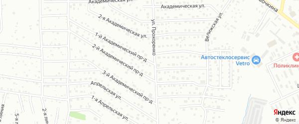 Академический 1-й проезд на карте Смоленска с номерами домов