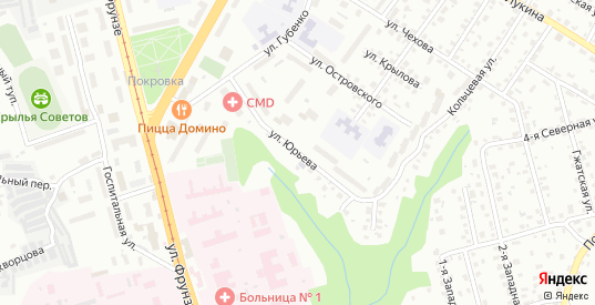 Улица Юрьева в Смоленске с номерами домов на карте. Спутник и схема онлайн