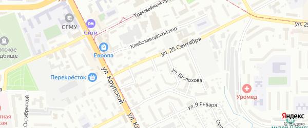 Ясенная 4-я улица на карте Смоленска с номерами домов