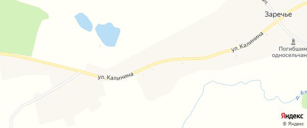 Улица Калинина на карте деревни Заречья Брянской области с номерами домов