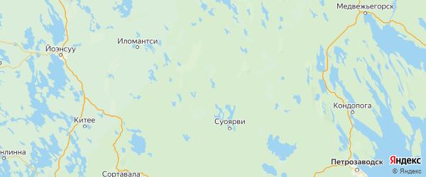 Карта Суоярвского района республики Карелия с населенными пунктами и городами