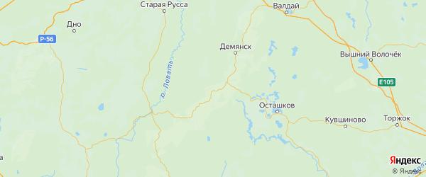Карта Марёвский района Новгородской области с городами и населенными пунктами