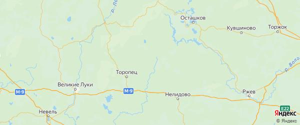 Карта Андреапольского района Тверской области с городами и населенными пунктами