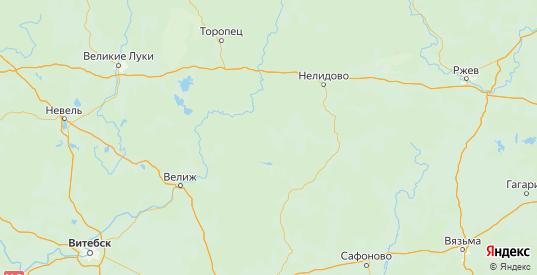 Карта Жарковского района Тверской области с городами и населенными пунктами