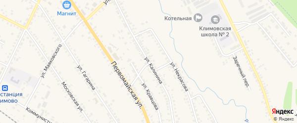 Улица Калинина на карте поселка Климово с номерами домов