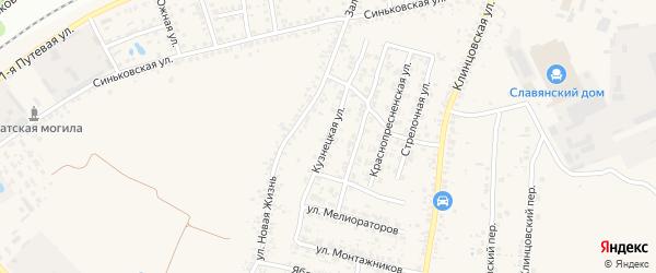 Кузнецкая улица на карте села Займища с номерами домов