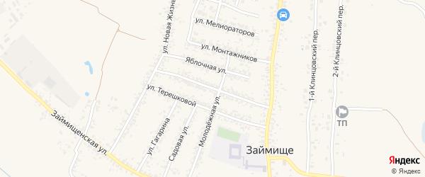 Комсомольская улица на карте села Займища с номерами домов