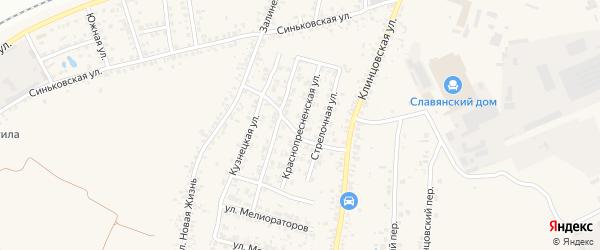 Краснопресненская улица на карте села Займища с номерами домов