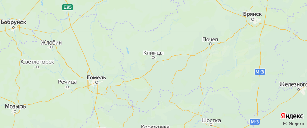 Карта Клинцовского района Брянской области с городами и населенными пунктами