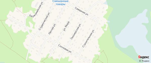 Пионерская улица на карте Борового поселка Карелии с номерами домов