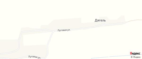 Луговая улица на карте поселка Дягеля с номерами домов