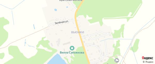 Партизанский переулок на карте поселка Вьюнки с номерами домов