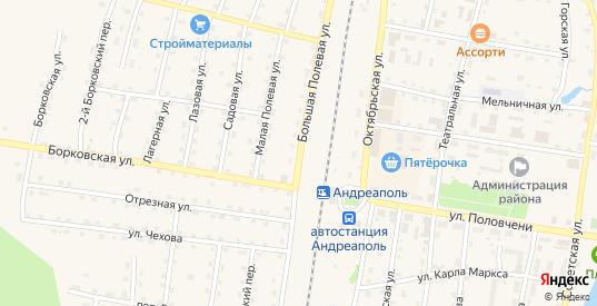 Большая полевая улица в Андреаполе с номерами домов на карте. Спутник и схема онлайн