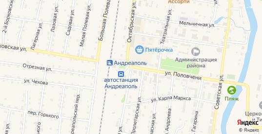 Октябрьская улица в Андреаполе с номерами домов на карте. Спутник и схема онлайн