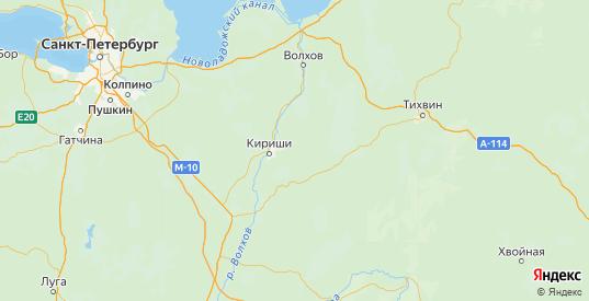 Карта Киришского района Ленинградской области с городами и населенными пунктами