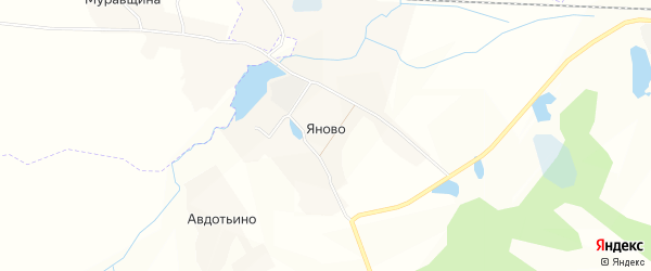 Карта деревни Яново в Смоленской области с улицами и номерами домов