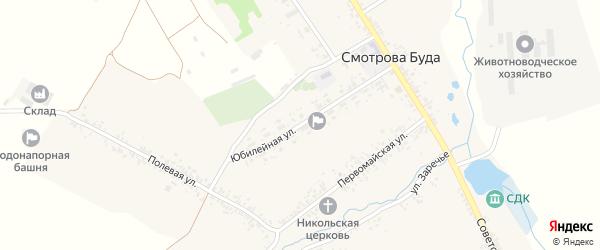 Юбилейная улица на карте села Смотровой Буды с номерами домов