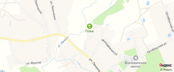 Набережный переулок на карте села Влазовичей с номерами домов