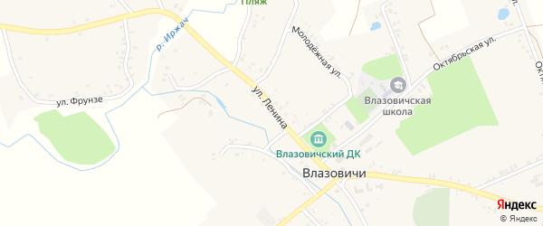 Улица Ленина на карте села Влазовичей с номерами домов