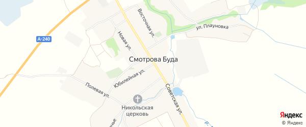 Карта села Смотровой Буды в Брянской области с улицами и номерами домов