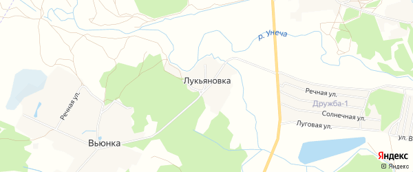 Карта поселка Лукьяновки в Брянской области с улицами и номерами домов