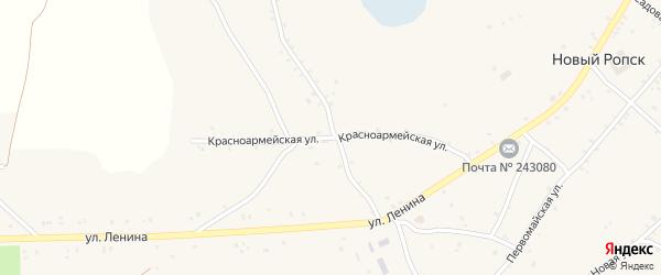 Красноармейская улица на карте села Нового Ропска с номерами домов