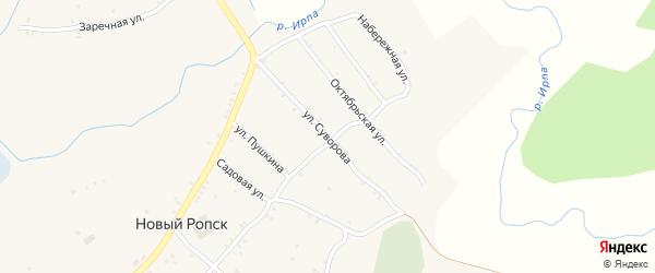 Улица Суворова на карте села Нового Ропска Брянской области с номерами домов