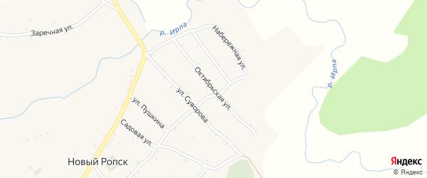 Октябрьская улица на карте села Нового Ропска Брянской области с номерами домов