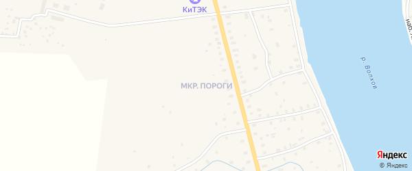 Микрорайон Пороги на карте Волхова с номерами домов