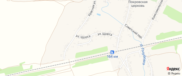 Улица Щорса на карте села Коржовки-Голубовки с номерами домов