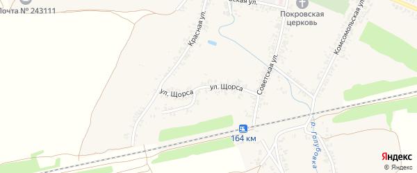 Улица Щорса на карте села Коржовки-Голубовки Брянской области с номерами домов