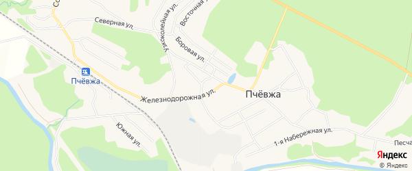 Карта садового некоммерческого товарищества Пчевжа в Ленинградской области с улицами и номерами домов