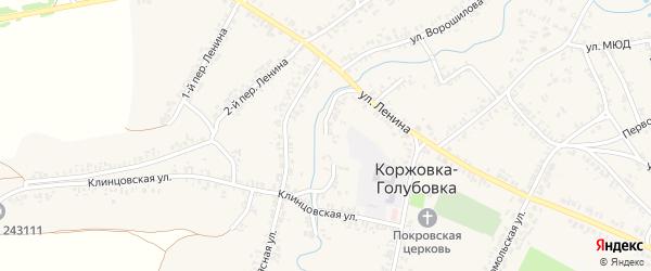 Набережная улица на карте села Коржовки-Голубовки Брянской области с номерами домов