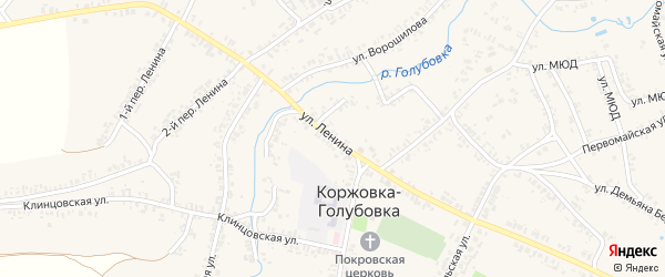 Улица Ленина на карте села Коржовки-Голубовки Брянской области с номерами домов