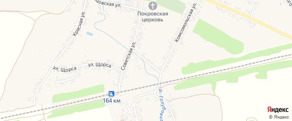 Советский переулок на карте села Коржовки-Голубовки Брянской области с номерами домов