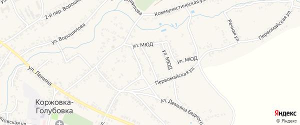 Колхозная улица на карте села Коржовки-Голубовки Брянской области с номерами домов