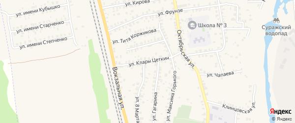 Улица Клары Цеткин на карте Суража с номерами домов
