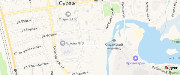 Фабричный переулок на карте Суража с номерами домов