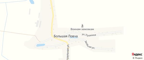 Заречная улица на карте деревни Большей Ловча с номерами домов