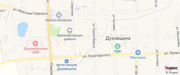 Советская улица на карте Духовщины с номерами домов