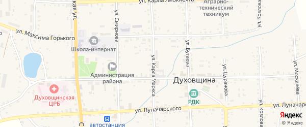 Улица Карла Маркса на карте Духовщины с номерами домов