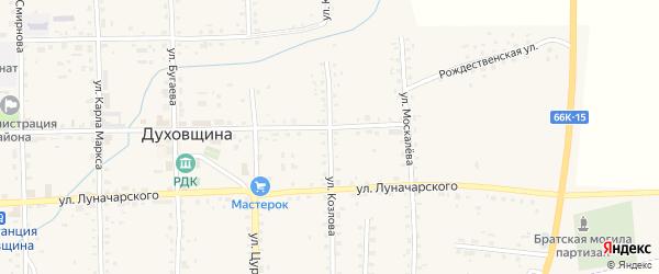 Улица Козлова на карте Духовщины с номерами домов