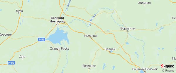 Карта Крестецкого района Новгородской области с городами и населенными пунктами