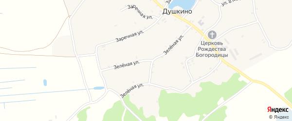 Зеленая улица на карте села Душкино с номерами домов