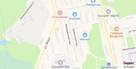 Молодежный переулок в Заозерске с номерами домов на карте. Спутник и схема онлайн