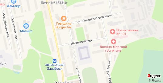 Школьный переулок в Заозерске с номерами домов на карте. Спутник и схема онлайн