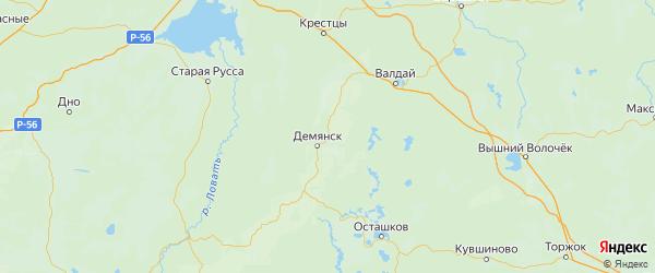 Карта Демянского района Новгородской области с городами и населенными пунктами