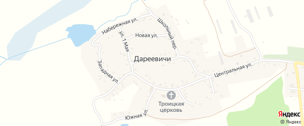 Западная улица на карте села Дареевичи с номерами домов