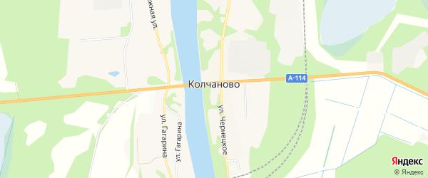 Карта села Колчаново в Ленинградской области с улицами и номерами домов